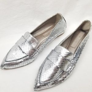 Agl Softy Pointy Toe Moccasin Loafer Silver Snake
